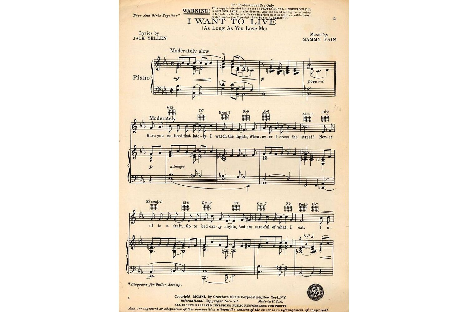 I Want to Live (As Long as You Love Me) - Song - Key of E flat -  Professional Copy only £10.00