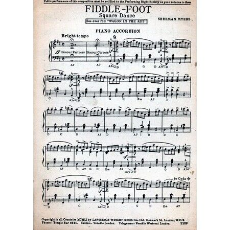 Fiddle Foot and Wagon in the Rut - Square Dances for Accordion solo
