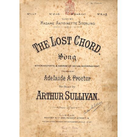 The Lost Chord Song As Performed By Madame Antoinette Sterling