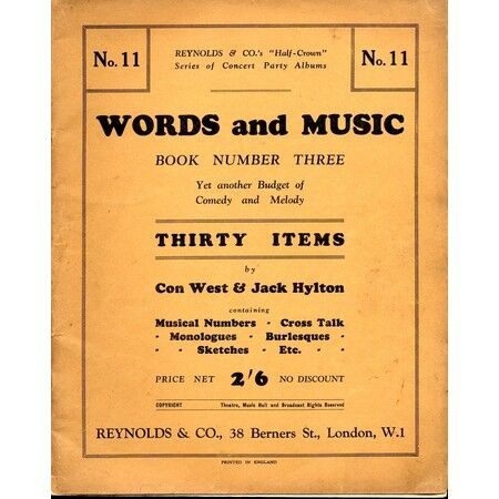 Third Book of Words and Music - Yet Another Budget of Comedy and Melody -  Thirty Items - Musical Numbers, Cross Talk, Stories, Monologues, Burlesques