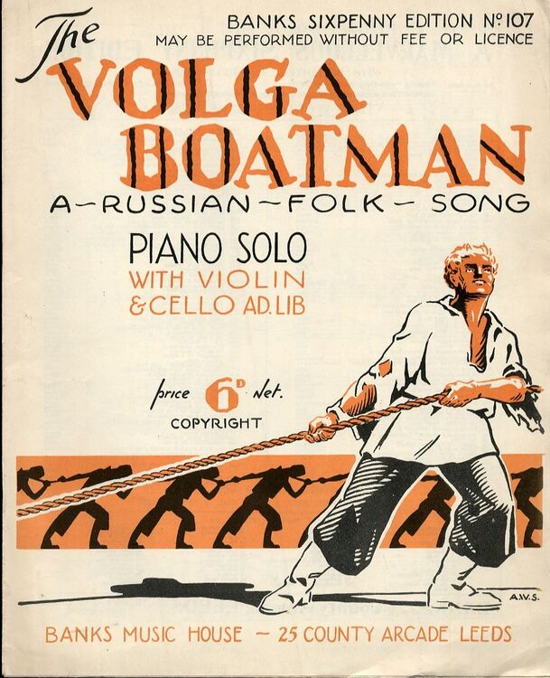 The Volga Boatman - A Russian Folk Song - For voice and piano with violin  and cello ad lib