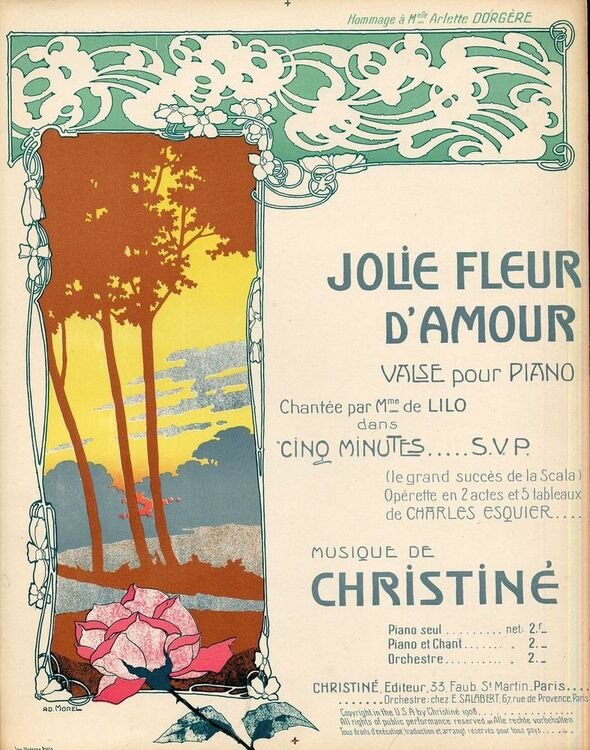 Jolie Fleur Damour For Piano And Voice French Edition