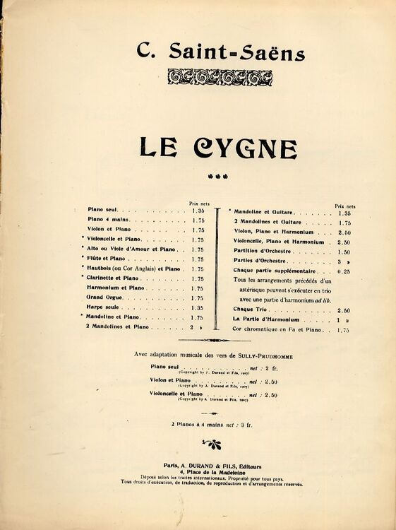 Le Cygne - From 'Carnaval des Animaux' - Arranged for Piano