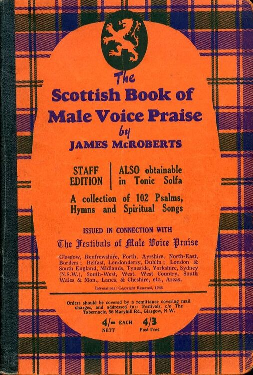 The Scottish Book of Male Voice Praise - A Collection of 102 Psalms, Hymns  and Spiritual Songs - Staff Edition