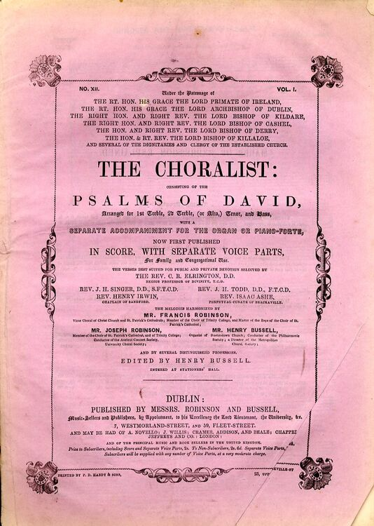 The Choralist Consisting Of The Psalms Of David Volume 1 No 12