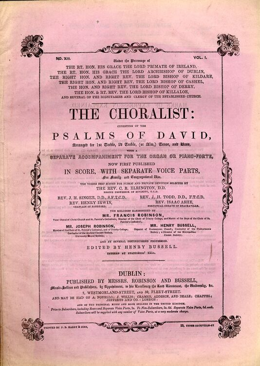 The Choralist Consisting Of The Psalms Of David Volume 1 No 13