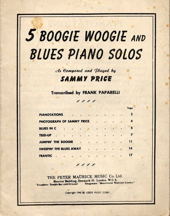 5 Famous Boogie Woogie and Blues Piano Solos - As played by Sammy Price