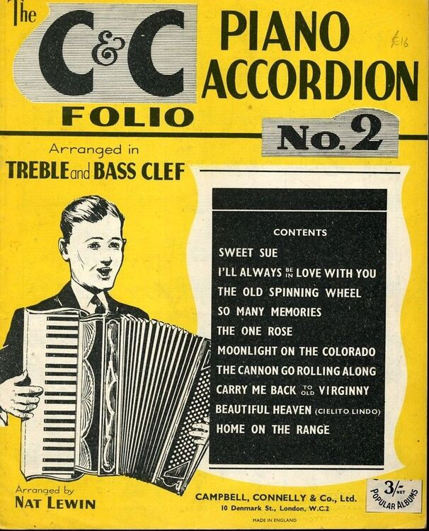 The C and C Piano Accordion Folio, No  2 arranged in treble and bass clef