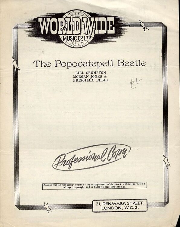 The Popocatepetl Beetle - For Piano and Voice with Guitar chord ...
