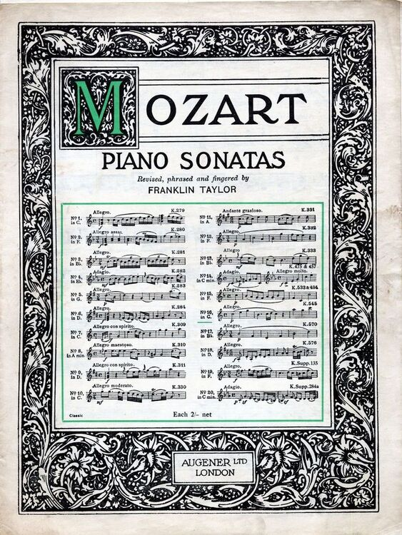 Mozart - Sonata XVI in C major - For Piano