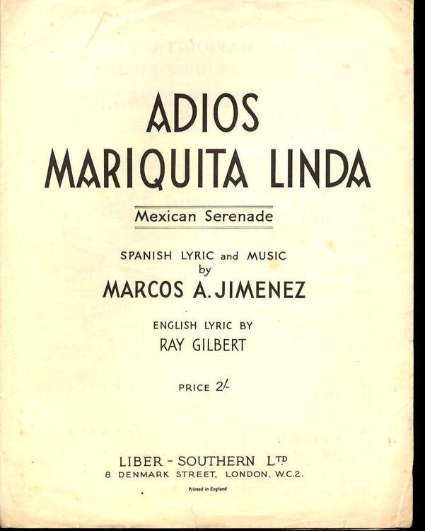 Adios mariquita linda mexican serenade spanish and english adios mariquita linda mexican serenade spanish and english lyrics for piano and voice only 1800 stopboris Images
