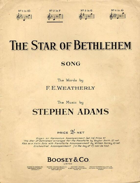 The Star of Bethlehem - Song - In the key of F major