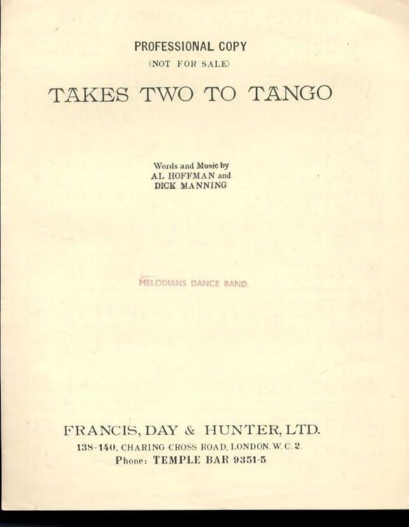 Takes Two To Tango Song For Piano And Voice With Ukulele Chord