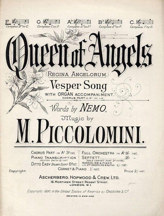 Queen of Angels (Regina Angelorum) - Vesper Song in the key of F major for  Low voice