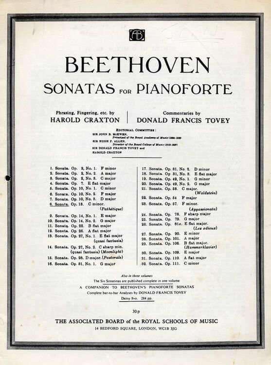 Image result for picture of the score of the 32 Beethoven sonatas