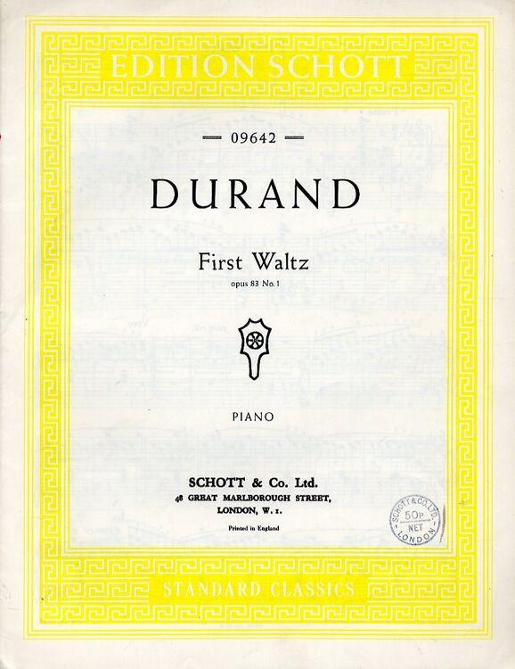 Durand - First Waltz - Op  83, No  1 - Piano Solo - 09642
