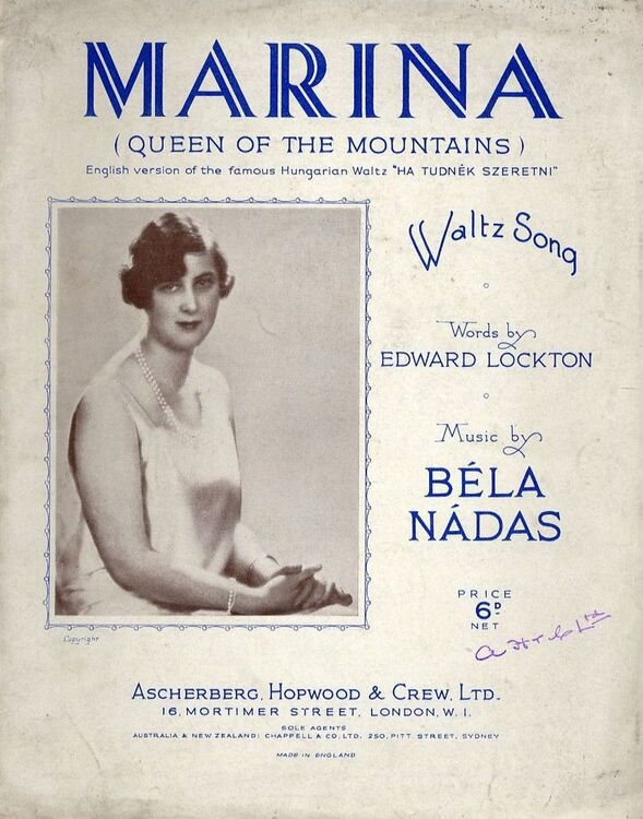 Marina (Queen of the Mountains) - Waltz Song - For Piano and Voice