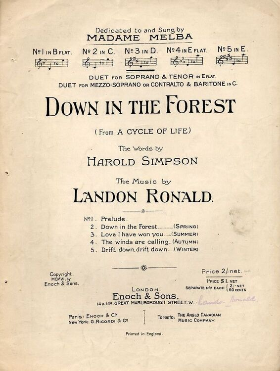 Down In The Forest Song From A Cycle Of Life In The Key Of D