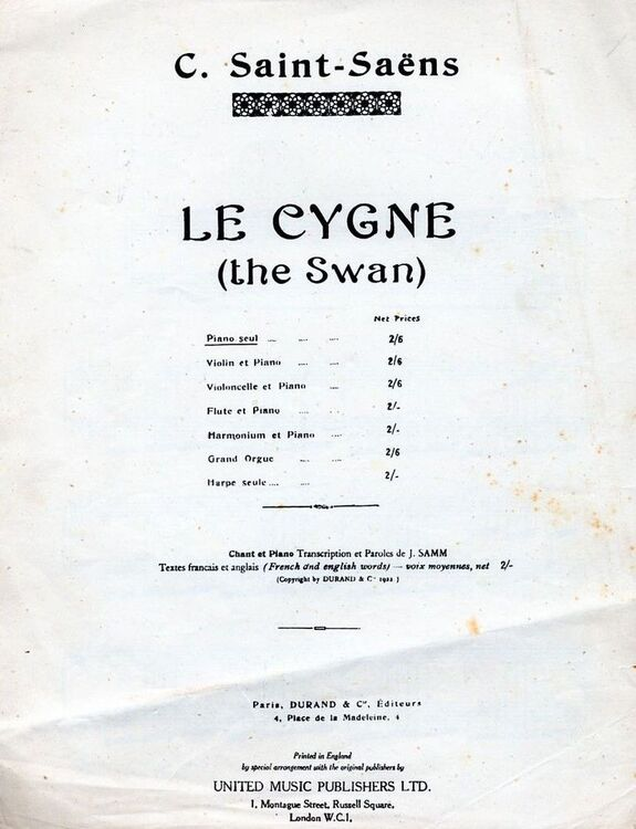 The Swan (Le Cygne) - For Piano