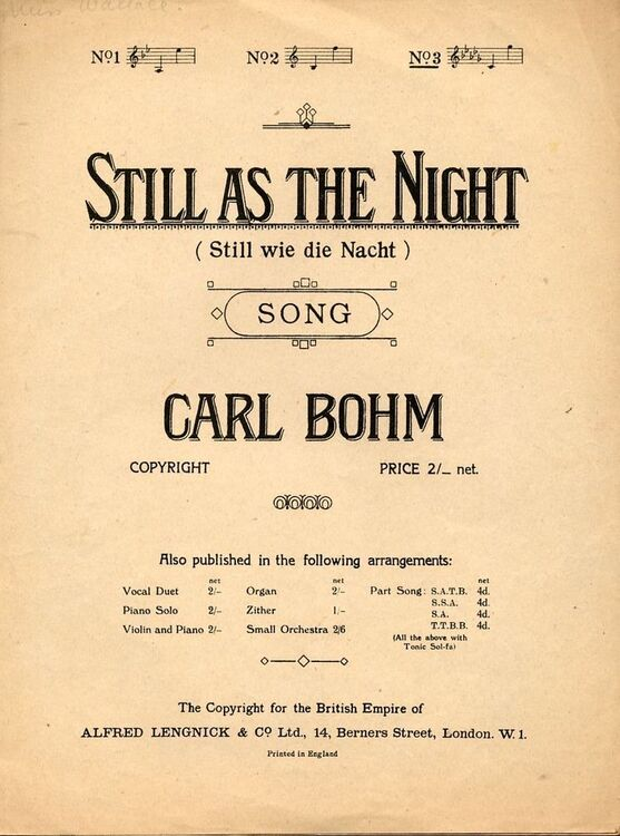 Still As The Night (Still wie die Nacht) - Song - In D flat major (English,  German, and French words)