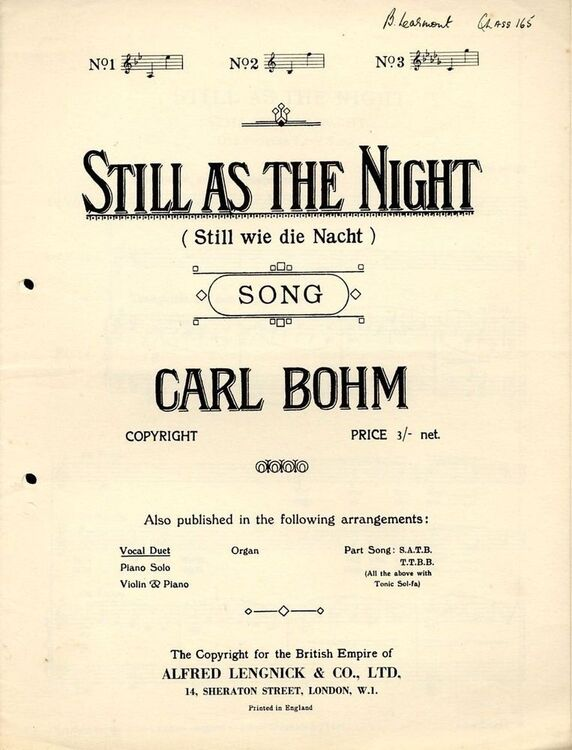 Still As The Night (Still wie die Nacht) - Song - Vocal Duet (English and  German words)