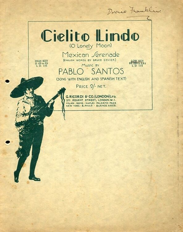 Cielito Lindo (O Lonely Moon) - Low Key - Song with English and Spanish Text