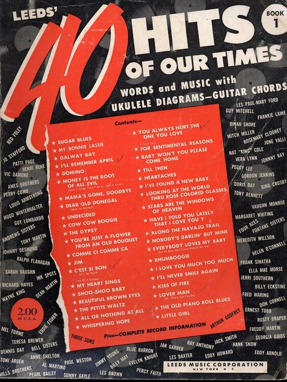 Forty Hits Of Our Times Book 1 Words And Music With Ukelele