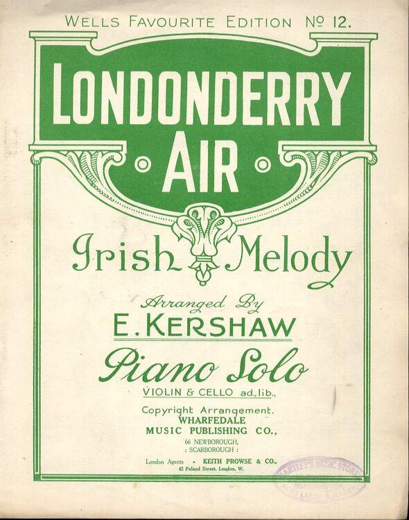 Londonderry Air - Irish Melody - Piano Solo - Violin and Cello ad lib -  Wells Favourite Edition - No  12
