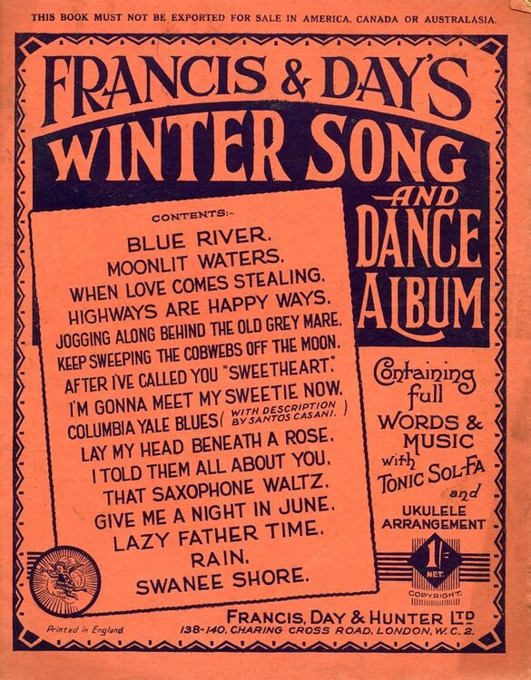 Francis & Days Winter Song and Dance Album - Containing full words & music  with Tonic Sol-Fa and ukulele arrangement
