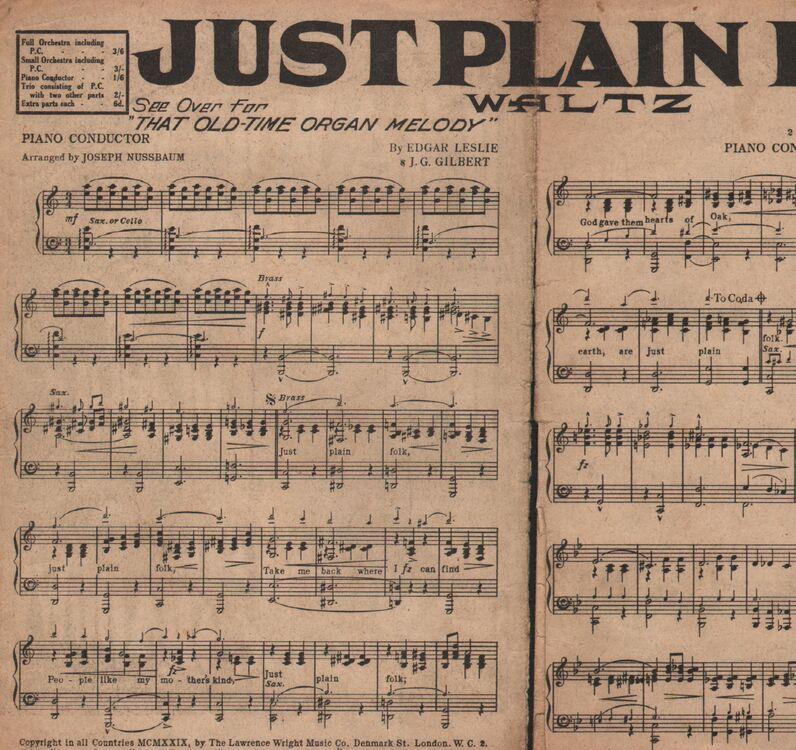 All Music Chords plain sheet music : DANCE BAND with Vocals:- (a) Just Plain Folk - Waltz (b) That Old ...