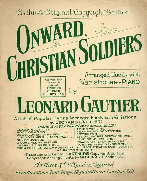 Onward Christian Soldiers - Sacred Song arranged easily with variations for  piano