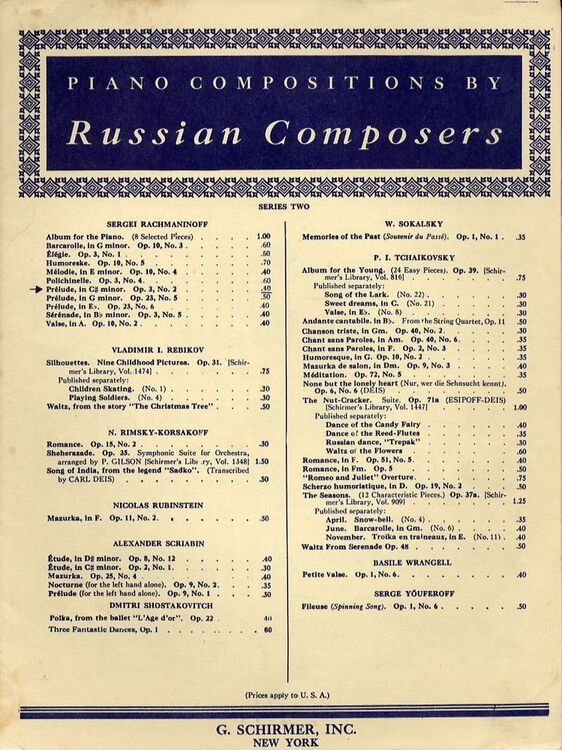 Prelude in C sharp minor - Op  3, No  2 - For Piano Solo - Piano  Compositions by Russian Composers series two