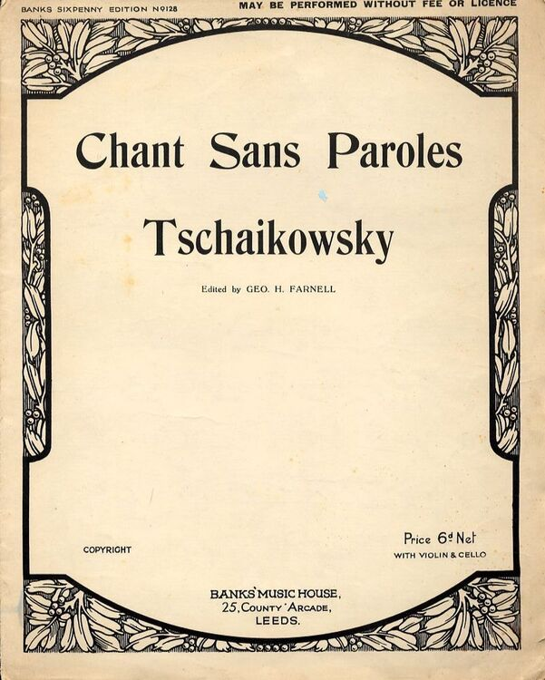 Chant Sans Paroles For Piano With Violin And Cello Only 900