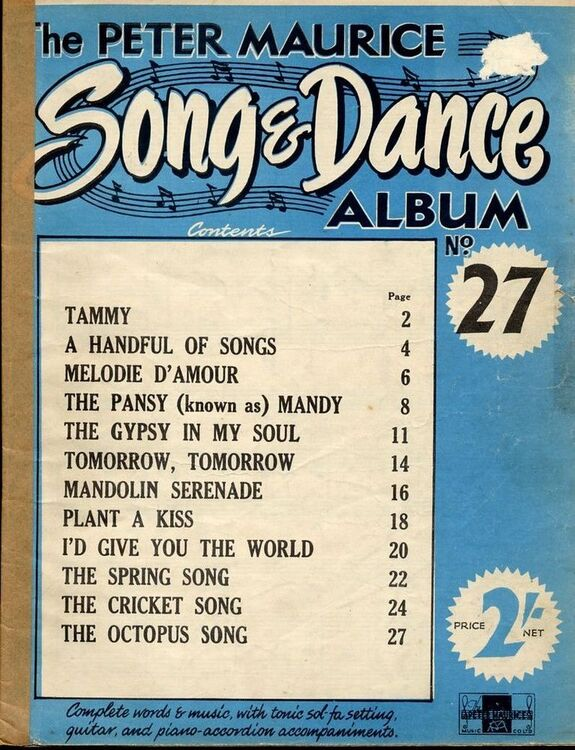 The Peter Maurice Popular Song and Dance Album No  27 - Complete Words,  Music with tonic Sol-Fa setting, Guitar and Piano Accordion Accompaniments