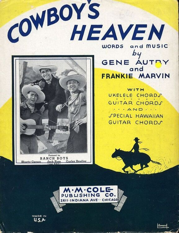 Cowboys Heaven For Piano And Voice With Ukulele And Guitar Chord