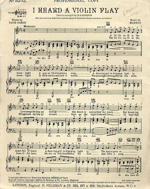 I Heard A Violin Play Professional Copy For Piano And Voice