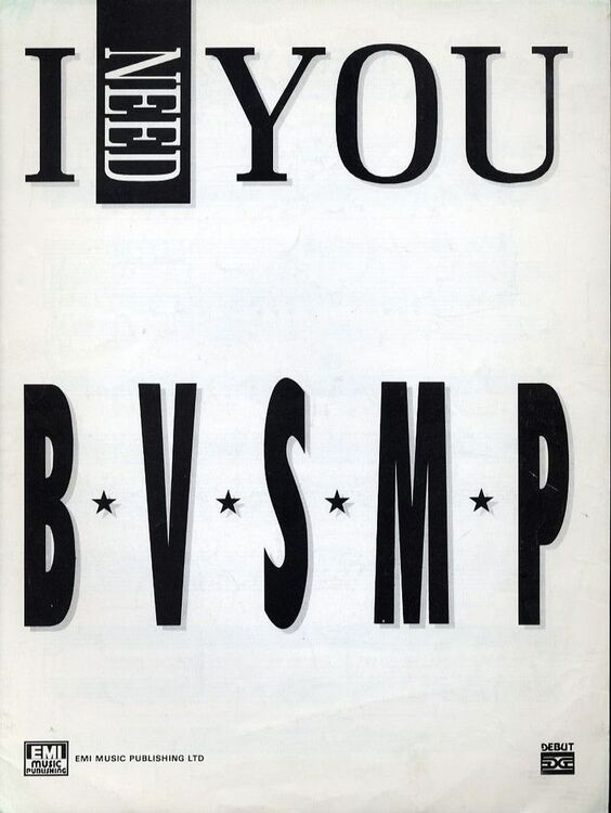 I Need You - Recorded by B.V.S.M.P - For Piano and Voice with Guitar ...