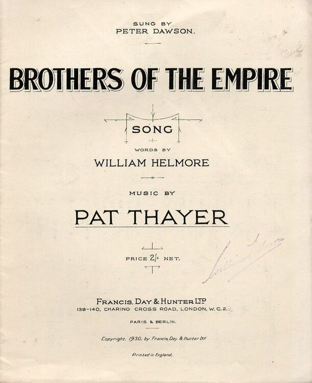 Brothers Of The Empire Song Sung By Peter Dawson For Piano And