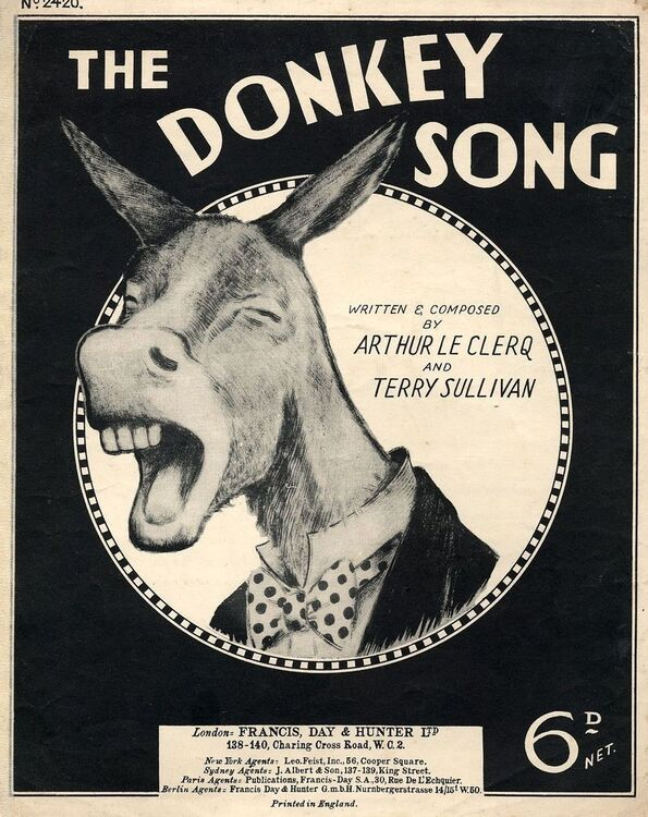 The Donkey Song Francis Day And Hunter Edition No 2420 For