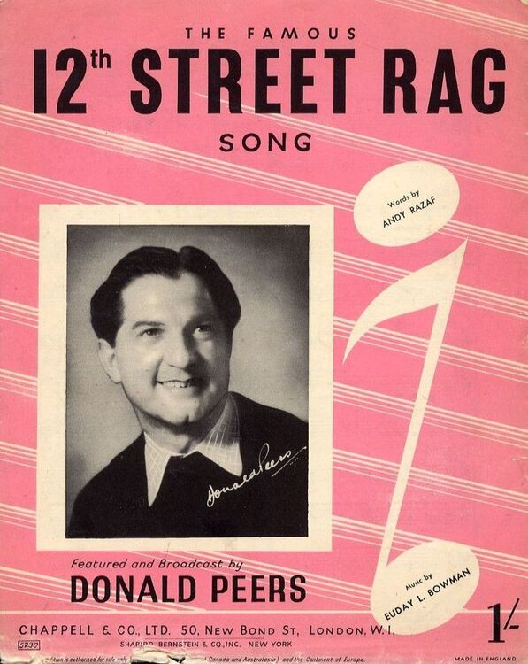 12th Street Rag Song For Piano And Voice With Guitar Chord