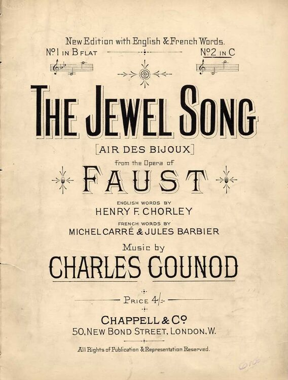 Garantie de satisfaction à 100% offres exclusives 100% authentique The Jewel Song (Air des Bijoux) - Song from the Opera Faust - In the key of  C Major for higher voice