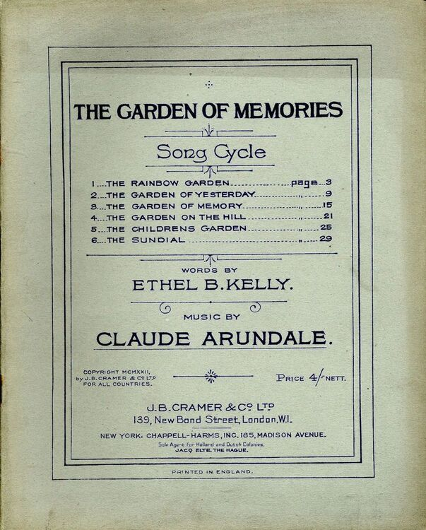 The Garden of Memories - Song Cycle only £25.00