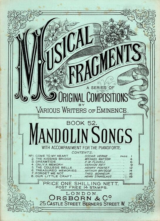 Mandolin Songs - Musical Fragments Series Book 52 - With an accompaniment  for the Pianoforte