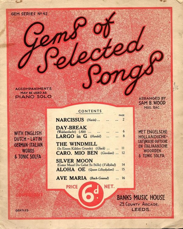 Gems of Selected Songs - Accompaniments may be used as Piano Solo - Gem  Series No  42 - With English, Dutch, Latin, German, and Italian Words and  Toni