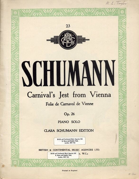 Carnival's Jest from Vienna - Folie de Carnaval de Vienne - Op  26 - Clara  Schumann Edition