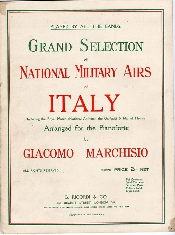 Grand Selection Of National Military Airs Of Italy Including The