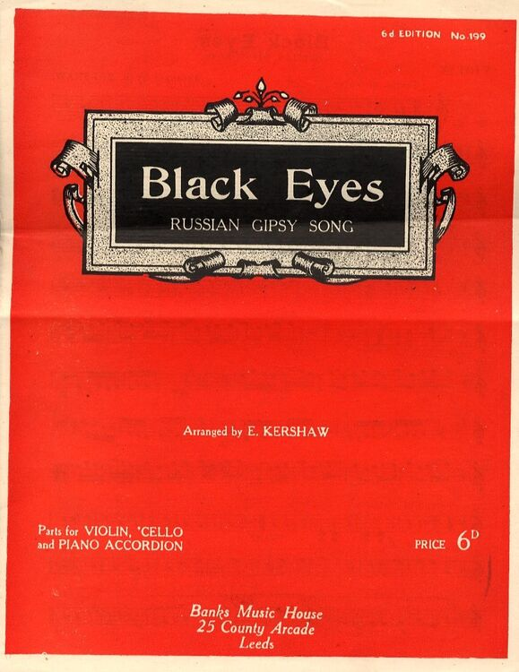Black Eyes - Famous Russian Gipsy Song - Parts for Violin, 'Cello and Piano  Accordion