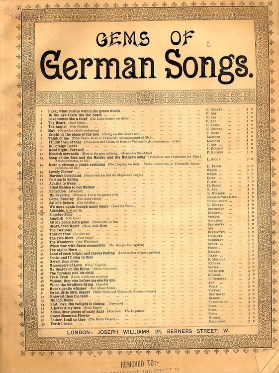 Adelaide - Song for Piano and Voice - Key of G major - Revised edition -  Gems of German Songs series No  25