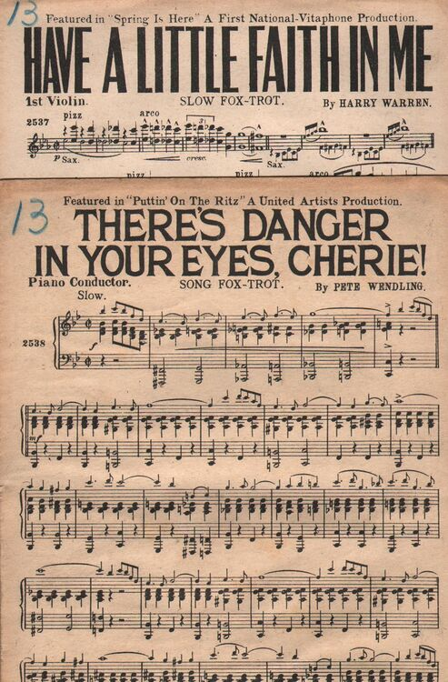 Dance Band With Vocals A Theres Danger In Your Eyes Cherie Song Fox Trot Featured In Puttin On The Ritz B Have A Little Faith In Me S