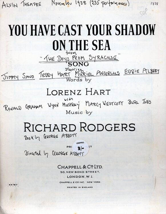 You Have Cast Your Shadow on the Sea - Song From